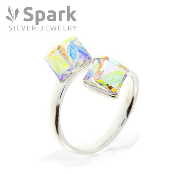 指輪 swarovski オーロラ